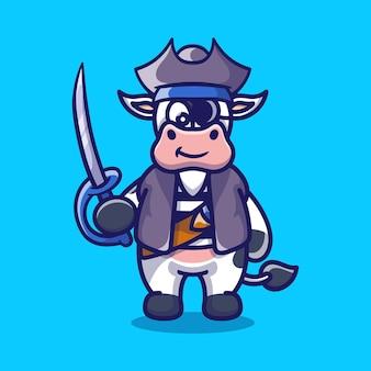海賊のハロウィーンの衣装を着てかわいい牛