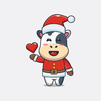 산타 의상을 입고 귀여운 암소 귀여운 크리스마스 만화 일러스트 레이션