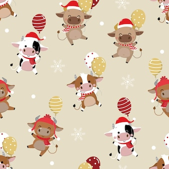 Cute cow in winter costume seamless pattern. the year of the ox.