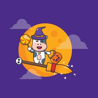Cute cow witch fly with broom in halloween night cute halloween cartoon illustration