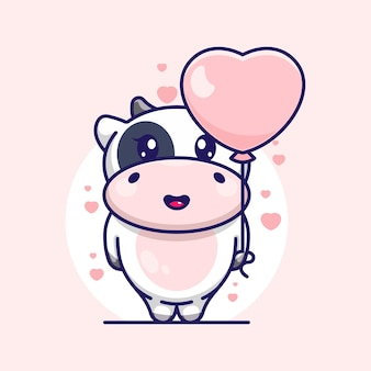 Cute cow with balloon cartoon