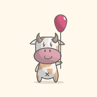 Cute cow with baloon in hand Premium Vector