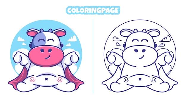 색칠 공부 페이지와 구름과 귀여운 암소