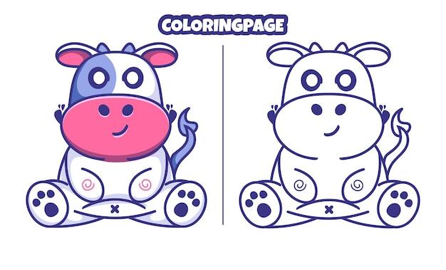 색칠 공부 페이지와 귀여운 암소