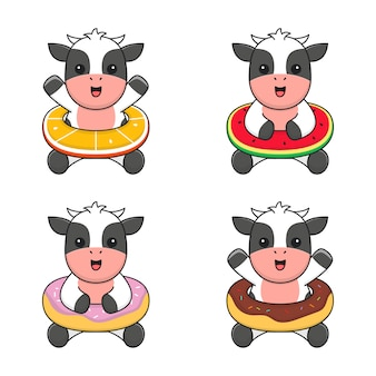 Cute cow with doughnut, orange and watermelon swim ring