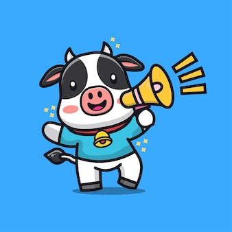 Cute cow with megaphone cartoon illustration