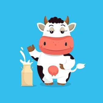ミルクコンテナとかわいい牛ベクトルイラスト