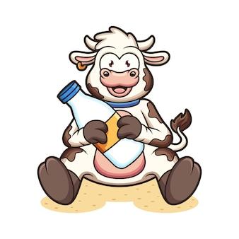 우유와 함께 귀여운 암소입니다. 아이콘 그림. 동물 아이콘 개념 흰색 배경에 고립