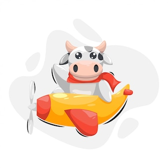 Cute cow with plane cartoon