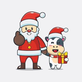 산타 클로스와 함께 귀여운 암소 귀여운 크리스마스 만화 일러스트 레이션