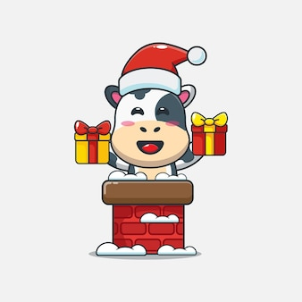 Cute cow with santa hat in the chimney cute christmas cartoon illustration
