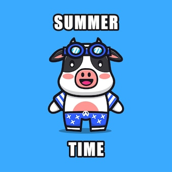 Cute cow with a summer theme   illustration animal summer concept