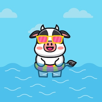 Cute cow with swim ring cartoon   illustration animal summer concept