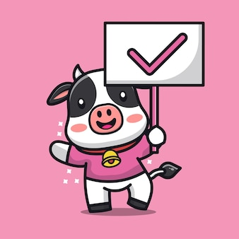 Cute cow with true sign cartoon illustration