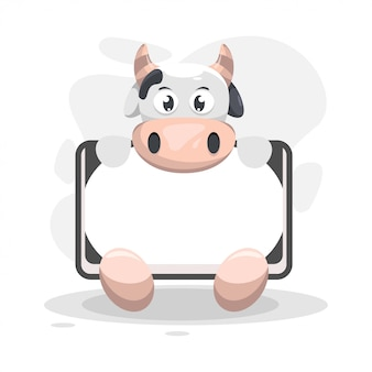 Cute cow with whiteboard cartoon