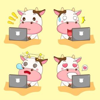 Милая корова работает на ноутбуке с разным выражением карикатуры