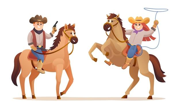 말 캐릭터를 타고 귀여운 카우보이와 카우걸 야생 동물 서부 개념 그림