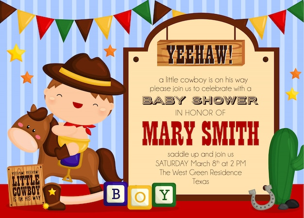Cute cowboy baby shower invitation
