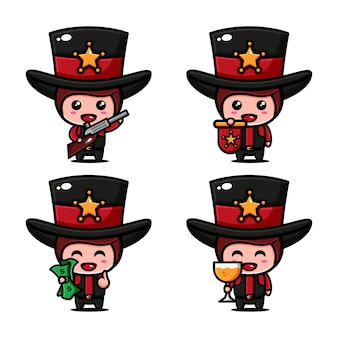 Симпатичный ковбойский дизайн персонажей с множеством выражений