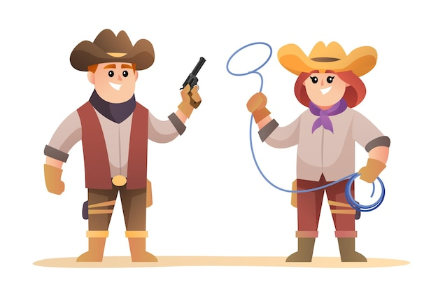 Cute cowboy and cowgirl characters set