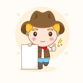 Милый ковбой показывает палец вверх с иллюстрацией шаржа чиби на рекламном щите
