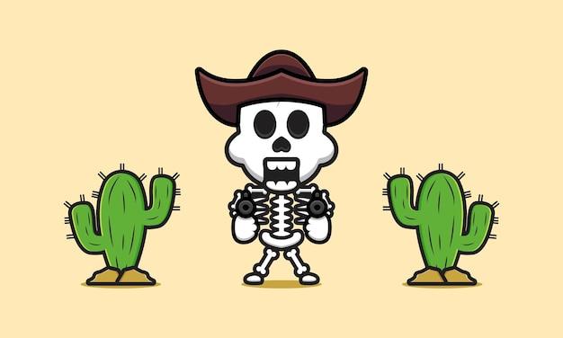 Cute cowboy skeleton cartoon icon illustration. design isolated flat cartoon style