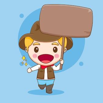Милый ковбой с пустой доской чиби персонаж иллюстрации