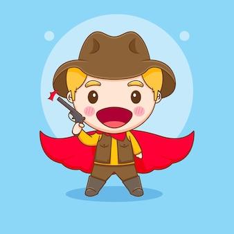 Симпатичный ковбой с пистолетом и красным плащом, иллюстрация персонажа чиби