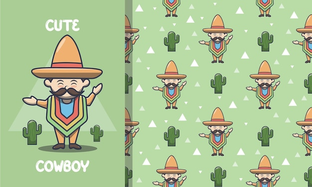 Cute cowboy with mustache seamless pattern