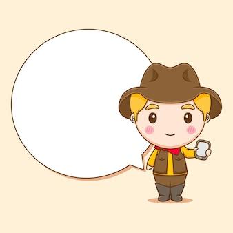 Милый ковбой с телефоном и пузырем чат чиби персонаж иллюстрации