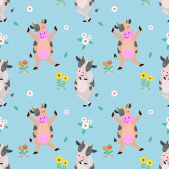 Cute cows character seamless pattern.