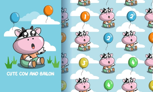 Cute cows and colorful balloons. illustration and pattern set