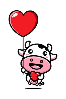 Cute cows fly with love