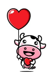 귀여운 소가 사랑으로 날다