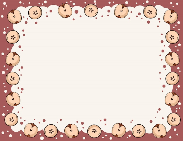Cute cozy banner with cut in half apples elements. autumn festive poster.