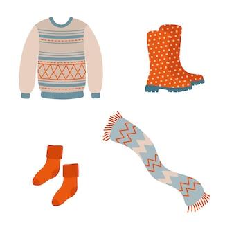 Симпатичная уютная осенняя одежда и аксессуары. осенняя одежда для холодов.