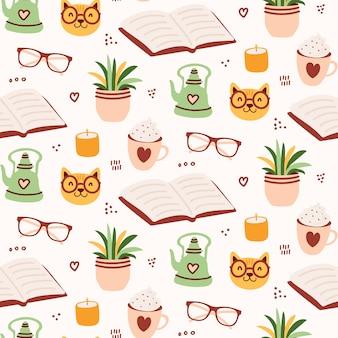 Cute cozy reading seamless pattern