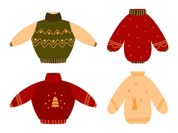 Симпатичный уютный уродливый красный рождественский свитер плоский набор. вязаная зимняя одежда. джемперы с орнаментом или оленями. традиционный праздничный пуловер, забавные рождественские принты. время хюгге. изолированные на белом иллюстрации