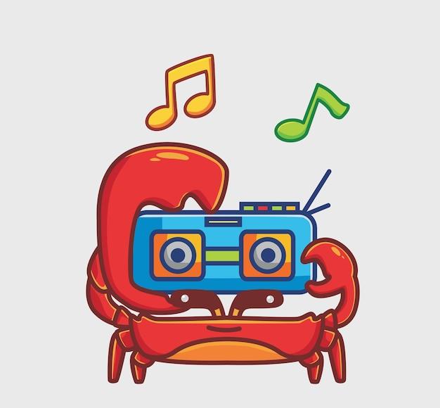 귀여운 게는 라디오 음악을 가져옵니다. 만화 동물 취미 개념 격리 된 그림입니다. 스티커 아이콘 디자인 프리미엄 로고 벡터에 적합한 플랫 스타일. 마스코트 캐릭터