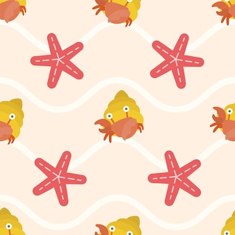 Cute crab and star fish seamless pattern