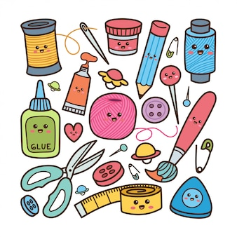Cute craft equipment doodle style illustration