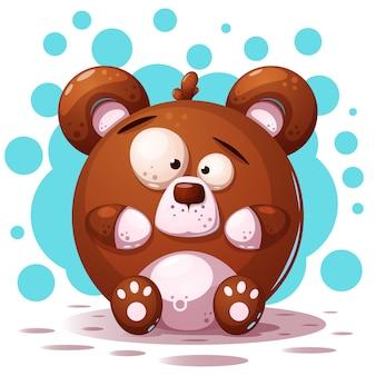 Cute, crazy bear - cartoon illustration.