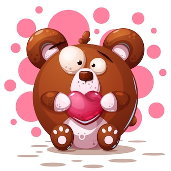 Cute, crazy bear - cartoon illustration
