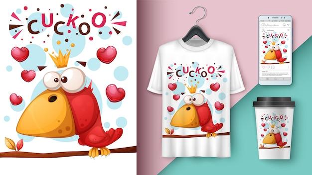 Cute, crazy bird  illustration