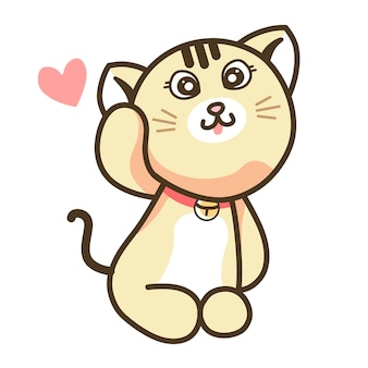 Cute cream ginger cat cartoon with sweet happy face sitting kitten doll