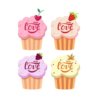 Cute creamy cupcakes set with love text
