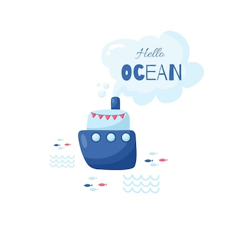 Cute creative cards templates with ocean theme design. vector cartoon illustration. hand drawn card for birthday, anniversary, party invitations, scrapbook.