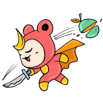 귀여운 생물들이 과일을 자르는 닌자 역할을 합니다. 만화 삽화 스티커 이모티콘