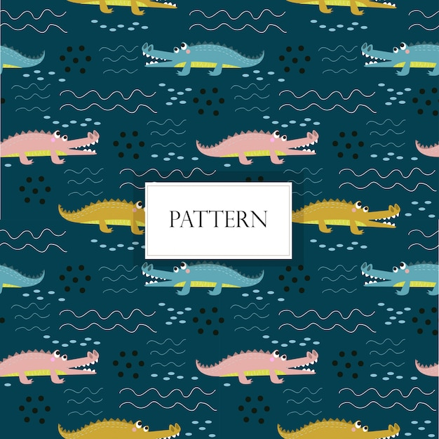 Cute crococile seamless pattern
