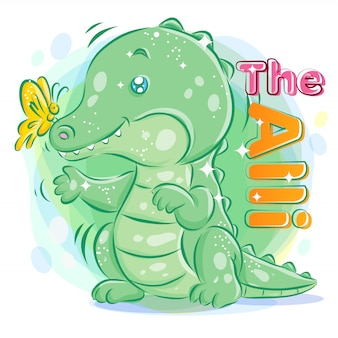 Cute crocodile or alligator playing with butterfly. colorful cartoon illustration.